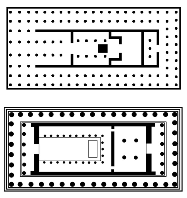 floor plan Temple of Artemis, Ephesus and Parthenon, Athens