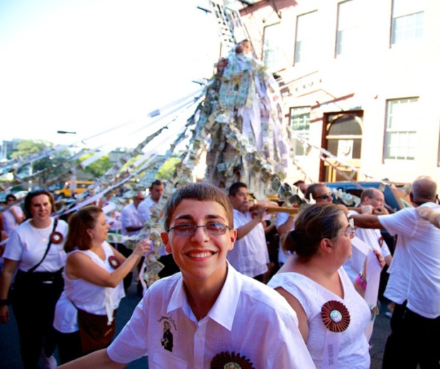 A young member of the St. Anthony procession (photo: Matt Conti, northendwaterfront.com)