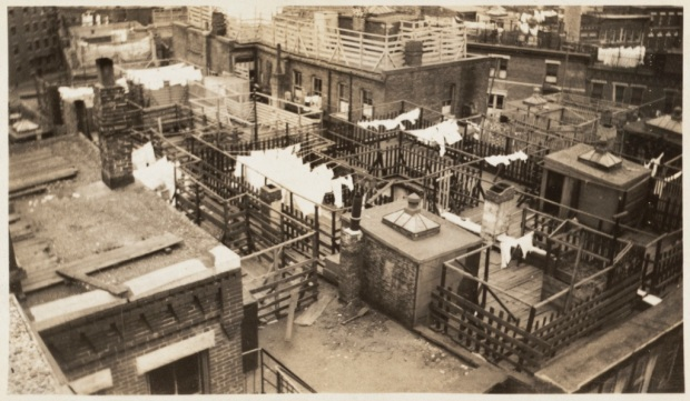 Cleveland Place block, North End, showing rooftop overcrowding (from Boston Tenement album) 1935