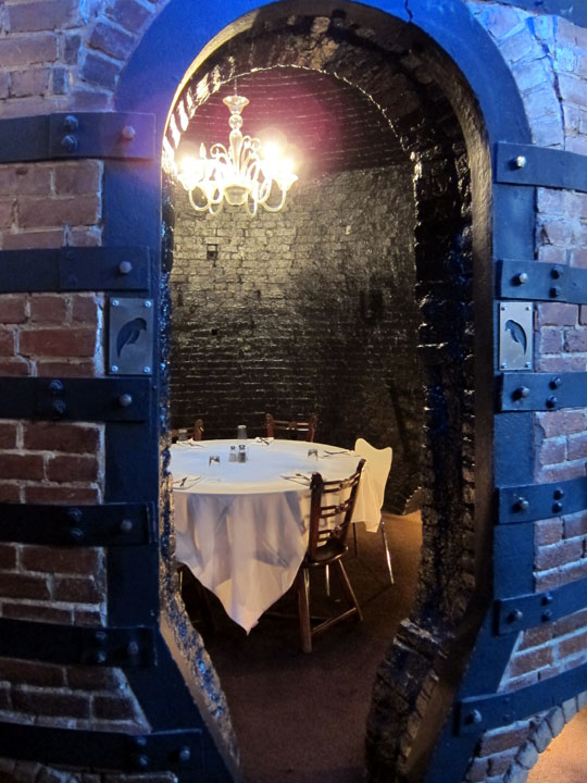 An elegant dining room in a former Rookwood pottery kiln.