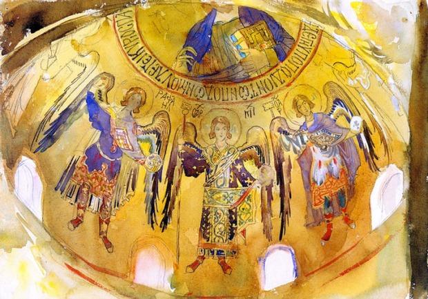 John Singer Sargent - Angels, Mosaic, Palatine Chapel, Palermo
