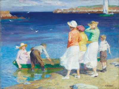 Beach scenes by American Impressionist Edward Henry Potthast.