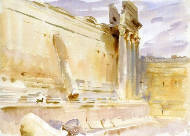 John Singer Sargent - Temple of Bacchus, Baalbek