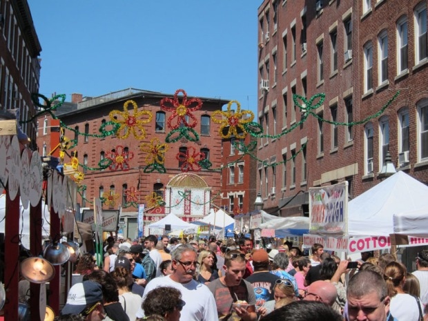 Streets lined with food and game vendors, St. Anthony Festival, North End, Boston
