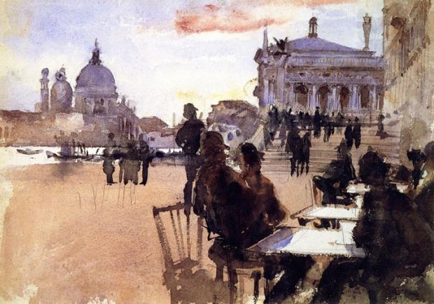 John Singer Sargent - Café on the Riva degli Schiavoni, Venice