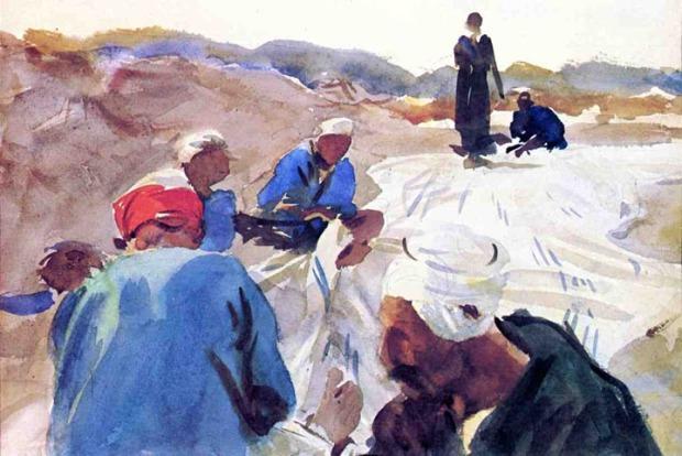 John Singer Sargent - Mending a Sail