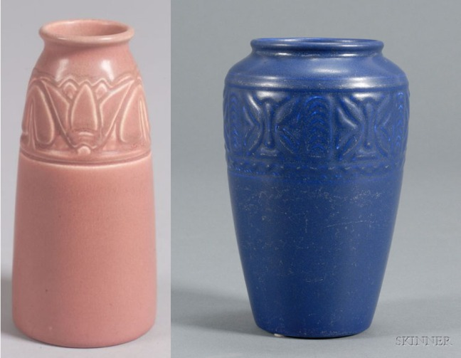 Pink and Blue Rookwood Pottery vase samples