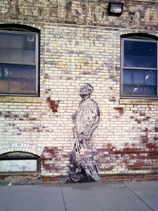 """The Professor"" - pasted paper street art in Cambridge, MA"