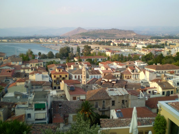 The rooftops of Nafplio and the harbor.