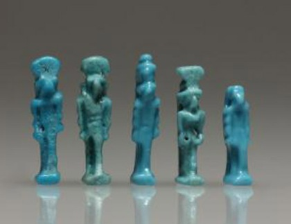 ancient Egyptian blue faience amulets