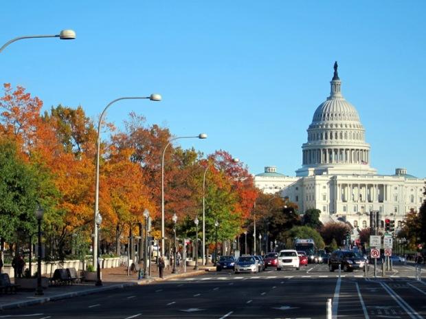 US capitol, autumn leaves