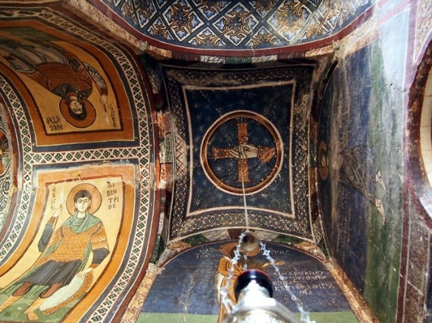 Byzantine Frescoed side chapel.