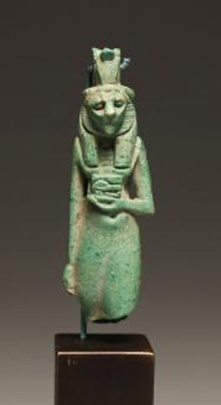 Blue-green faience Goddess Bastet Amulet
