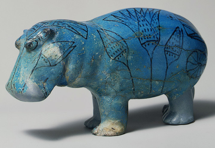 Blue Hippopotamus at the Metropolitan Museum of Art, blue faience