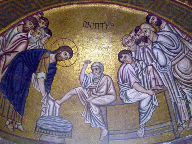 Byzantine mosaic - Jesus Washing the Disciples Feet