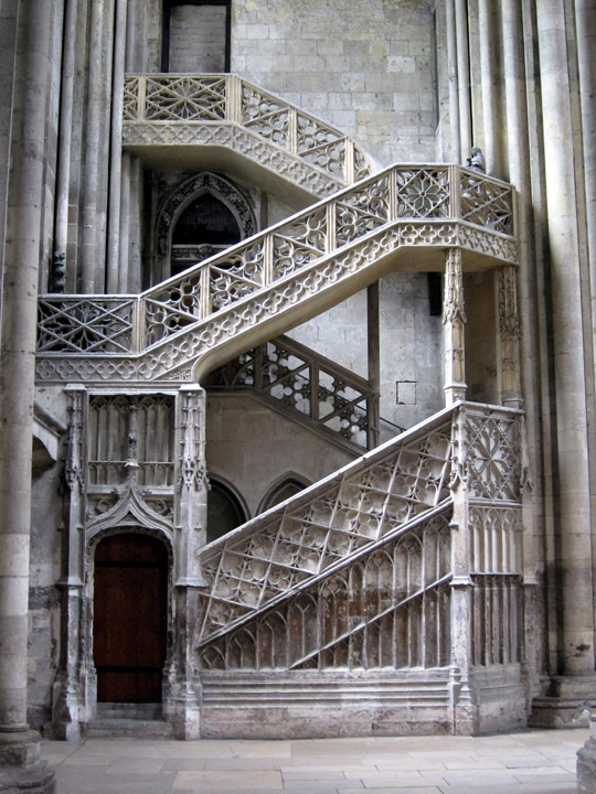 The 15th century Library staircase designed by Guillaume Pontis.