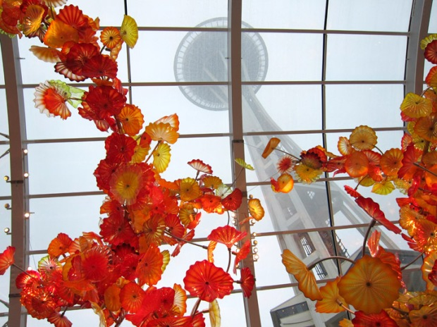space needle in Chihuly chapel