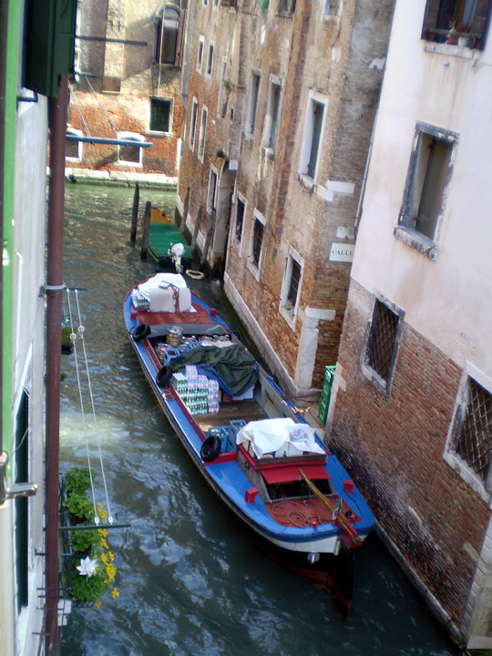 canal view from a room in Venice