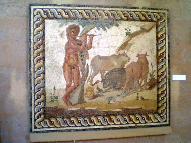 Roman mosaic copy of a Greek Bucolic country scene, Corinth Museum