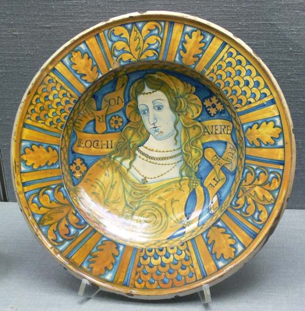 italy lady plate, historic deruta