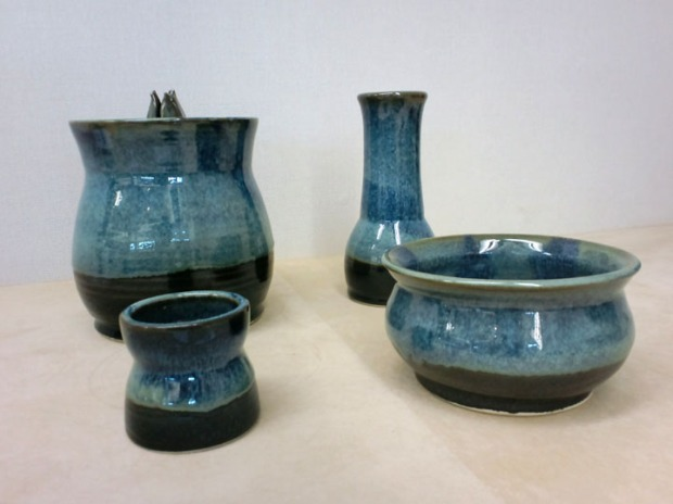 Set of indigo blue Japanese pottery pieces