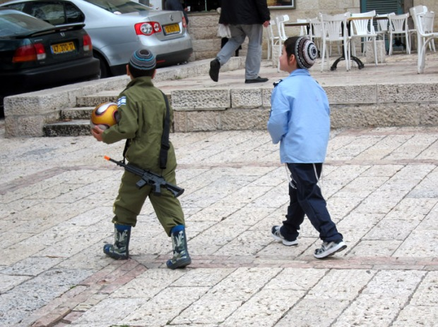 Israel children in army costumes