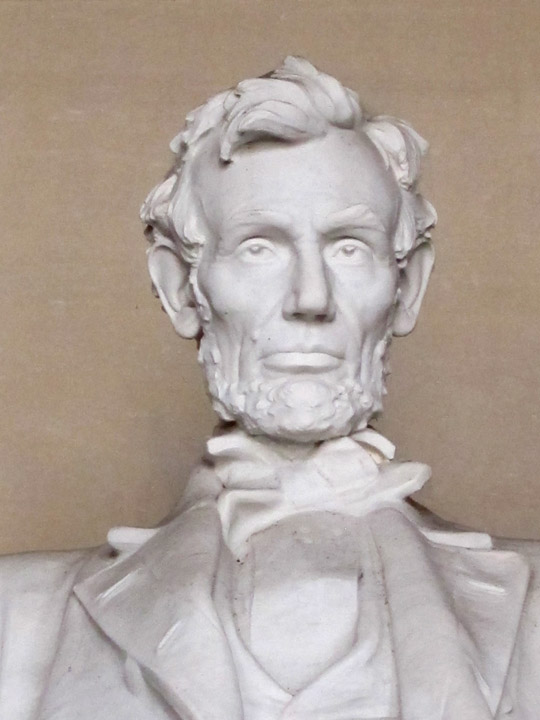 Close up of the Lincoln Memorial face