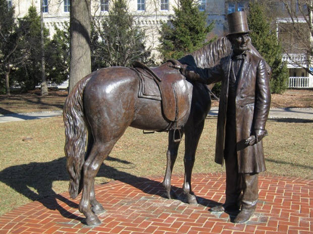 full Lincoln statue, Old Soldiers Home, Lincoln's Cottage, DC