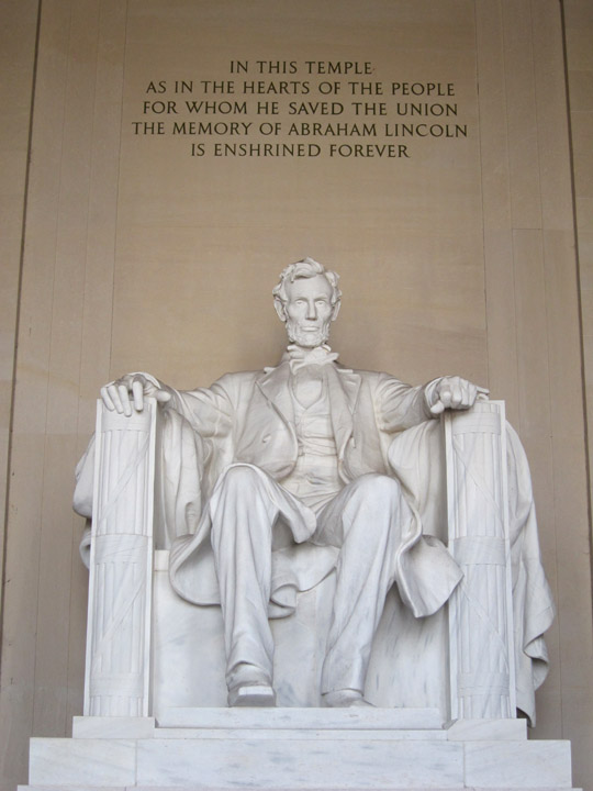 Presidential statue within the Lincoln Memorial, Washington, DC