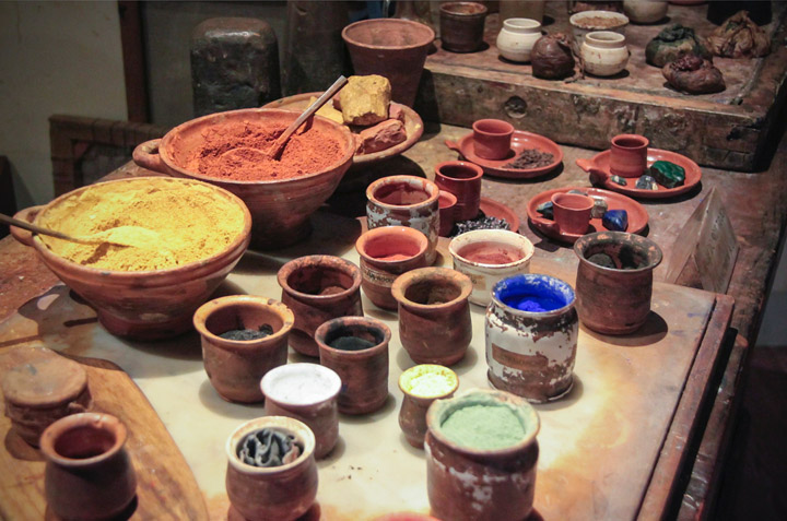 Raw pigments and paint making display at the Rembrandt House, Amsterdam