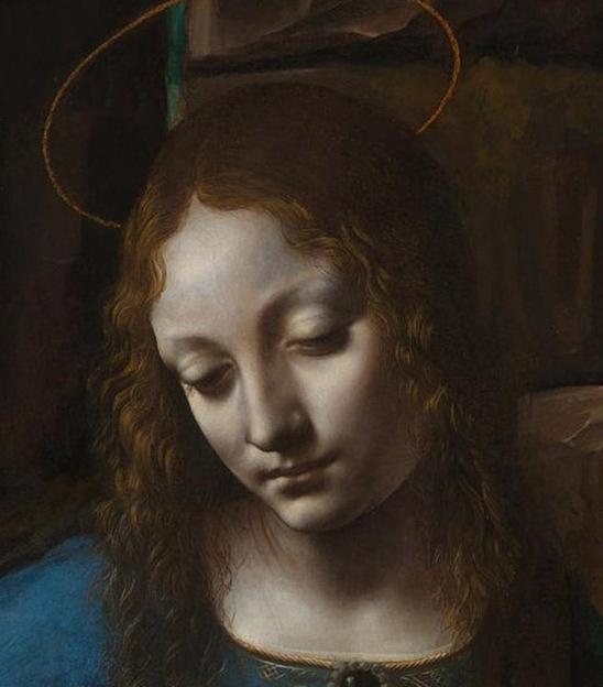 "Detail of Mary from Leonardo da Vinci's ""The Virgin of the Rocks"", National Gallery, London"