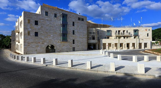 White stone face of the Akko Knights Hostel (Photo from hostel)