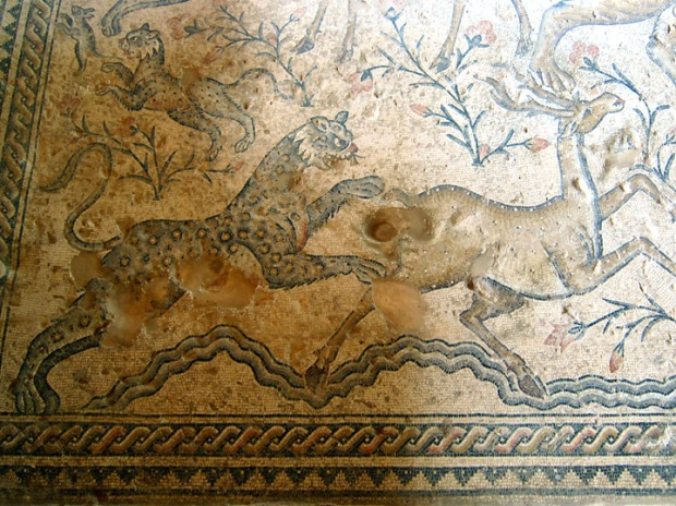 Leopard pouncing on a deer, Nile House, Sepphoris