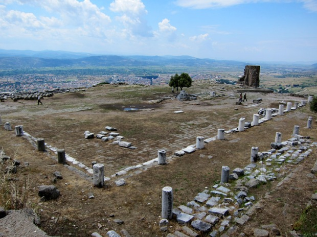 The colonnaded arcade of the Great Library of Pergamon