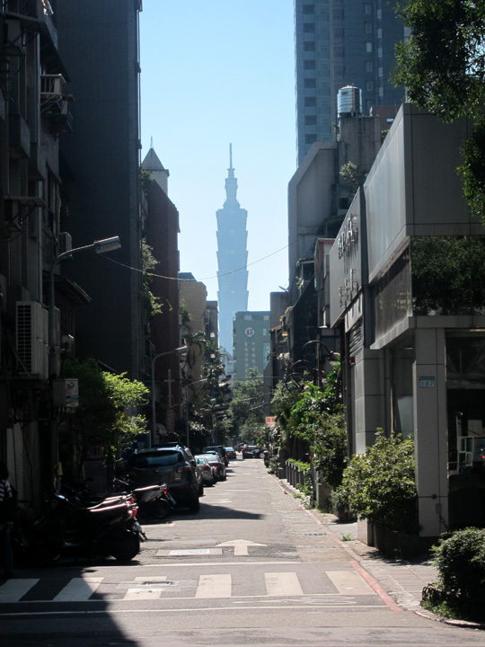 Taipei 101 down a city street