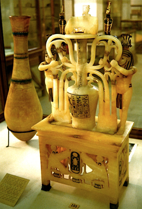 Alabaster perfume jar from the tomb of Tutankhamun