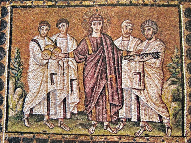 Miracle of the Loaves and Fishes from Sant'Apollinare Nuovo, Ravenna.