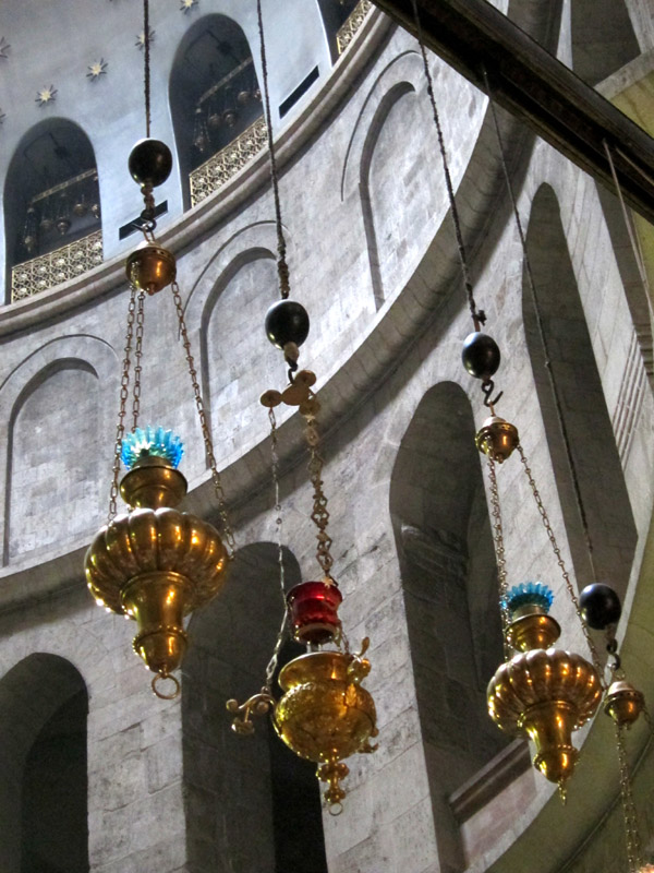 Oil lamps inside the Holy Sepulchre