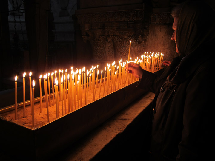 Candle holder just after Golgotha in the Holy Sepulchre