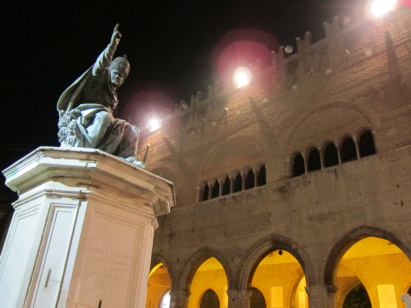 Piazza Cavour at night, Rimini