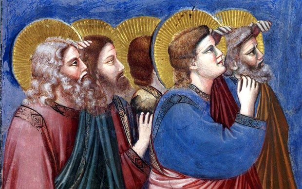 "Giotto di Bondone, ""Scenes from the Life of Christ: 22. Ascension (detail)"", 1304-1306, Scrovegni Chapel, Padua (Photo: Web Gallery of Art)"