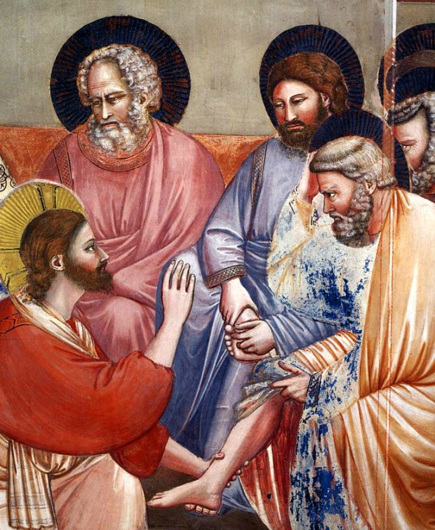 "Giotto di Bondone, ""Scenes from the Life of Christ: 14. Washing of Feet"", 1304-1306, Scrovegni Chapel, Padua (Photo: Web Gallery of Art)"