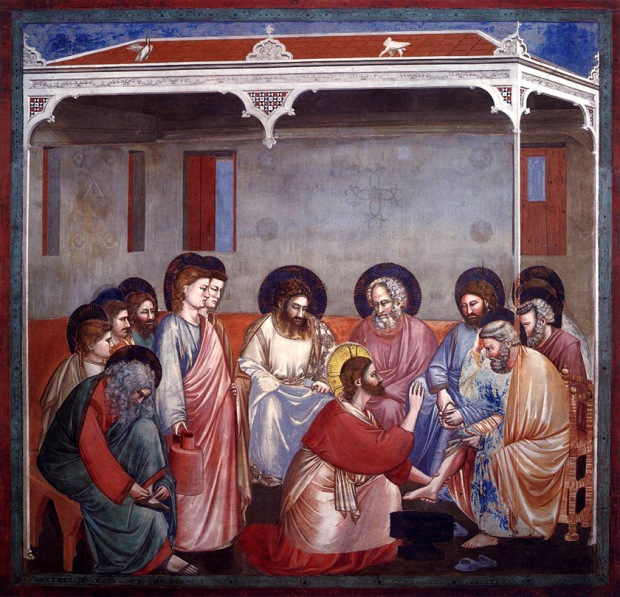 "Giotto di Bondone, ""Scenes from the Life of Christ: 14. Washing of Feet"", 1304-1306, Scrovegni Chapel, Padua"