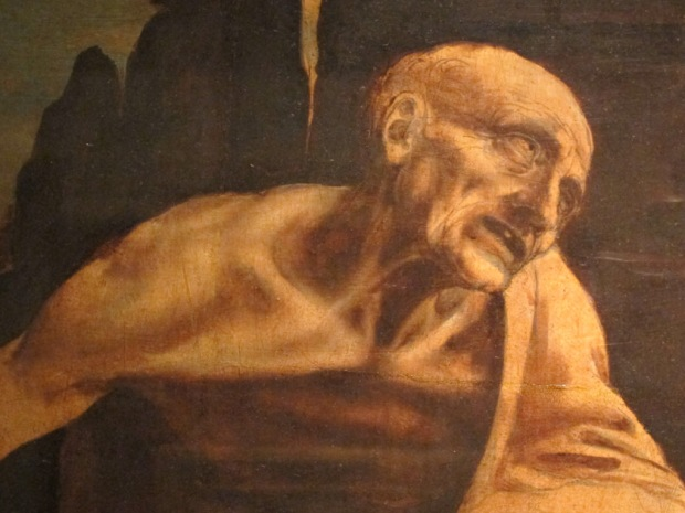 "Close up of Leonardo da Vinci, ""Saint Jerome in the Wilderness"""
