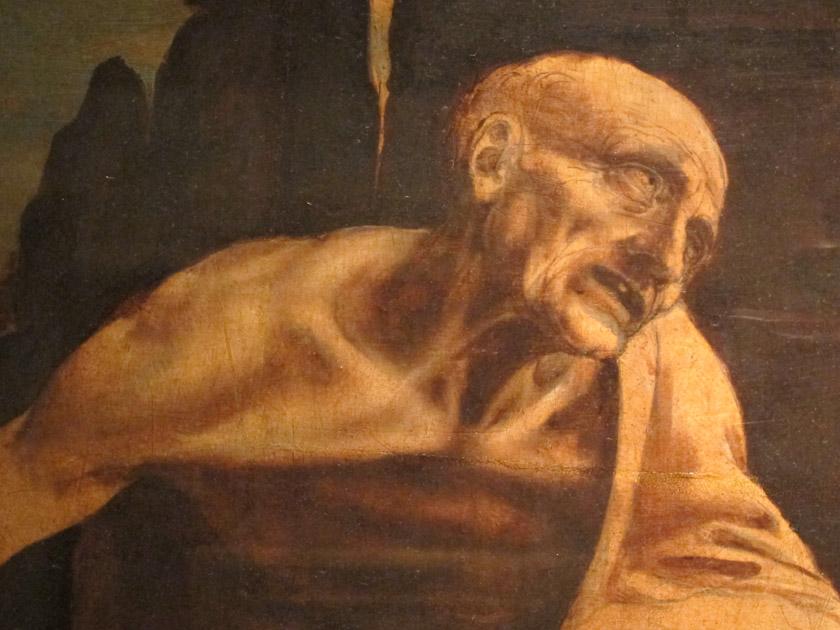 "Close up of Leonardo da Vinci, ""Saint Jerome in the Wilderness"""