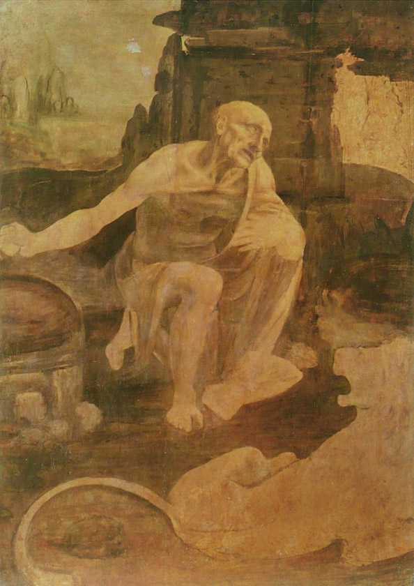 "Leonardo da Vinci ""Saint Jerome in the Wilderness"", Vatican Museums (Pinacoteca), Rome"