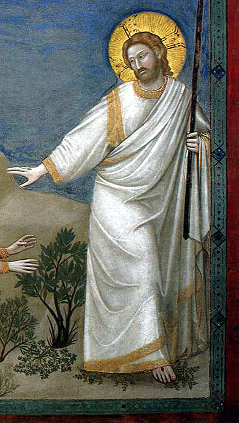 "Detail of Jesus from Giotto di Bondone, ""Scenes from the Life of Christ: 21. Resurrection (Noli me tangere)"", 1304-1306, Scrovegni Chapel, Padua"