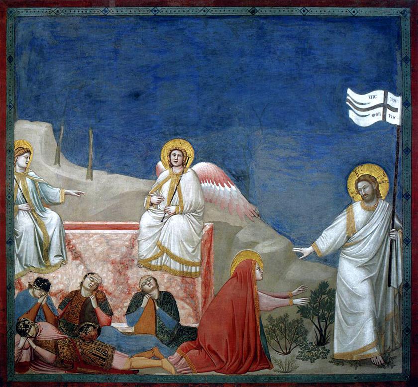 """Giotto di Bondone, """"Scenes from the Life of Christ: 21. Resurrection (Noli me tangere)"""", 1304-1306, Scrovegni Chapel, Padua"""