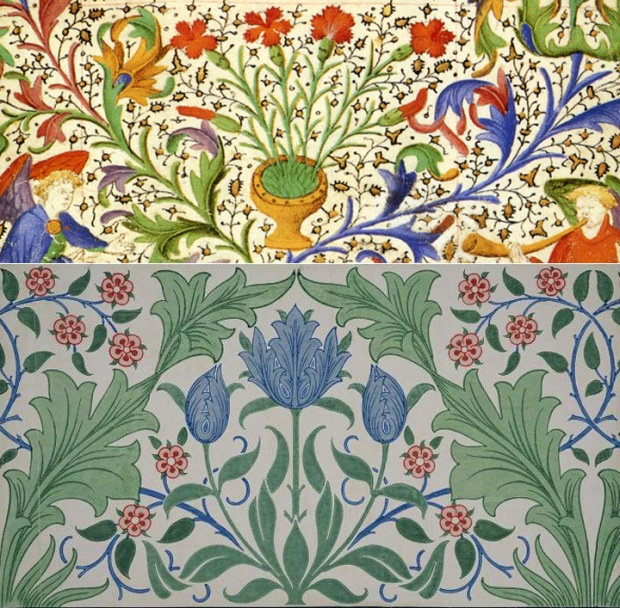 medieval design compared to william morris, Arts & Crafts