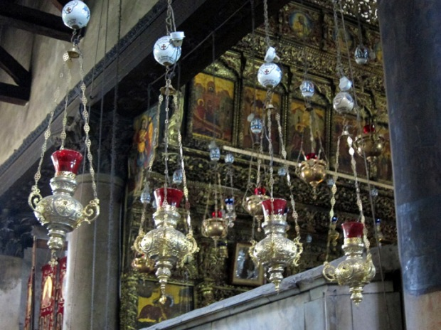 Lamps and icons in the Church of the Nativity, Bethlehem